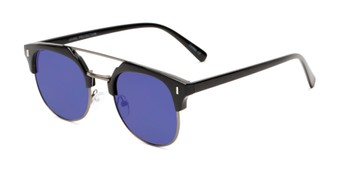Angle of Anaheim #7080 in Glossy Black/Grey Frame with Purple Lenses, Women's and Men's Browline Sunglasses