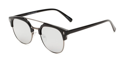 Angle of Anaheim #7080 in Glossy Black/Grey Frame with Silver Lenses, Women's and Men's Browline Sunglasses