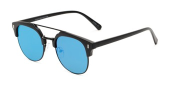 Angle of Anaheim #7080 in Matte Black Frame with Blue Lenses, Women's and Men's Browline Sunglasses