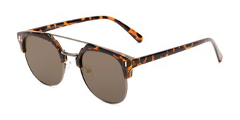Angle of Anaheim #7080 in Tortoise/Gold Frame with Gold Lenses, Women's and Men's Browline Sunglasses
