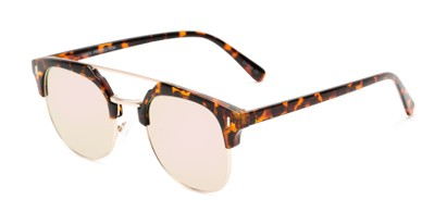 Angle of Anaheim #7080 in Tortoise/Gold Frame with Pink Lenses, Women's and Men's Browline Sunglasses