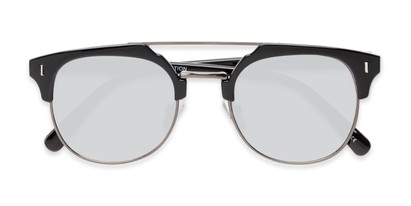 Folded of Anaheim #7080 in Glossy Black/Grey Frame with Silver Lenses