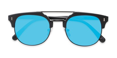 Folded of Anaheim #7080 in Matte Black Frame with Blue Lenses