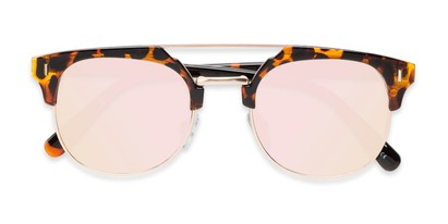Folded of Anaheim #7080 in Tortoise/Gold Frame with Pink Lenses