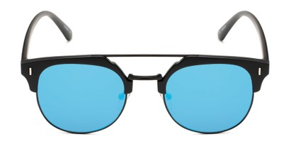 Front of Anaheim #7080 in Matte Black Frame with Blue Lenses