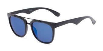 Angle of Anderson #5408 in Black Frame with Blue Mirrored Lenses, Women's and Men's Retro Square Sunglasses
