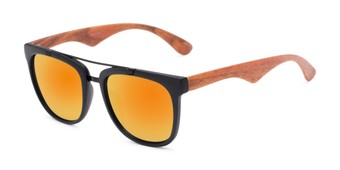 Angle of Anderson #5408 in Black/Brown Frame with Orange Mirrored Lenses, Women's and Men's Retro Square Sunglasses