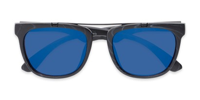 Folded of Anderson #5408 in Black Frame with Blue Mirrored Lenses