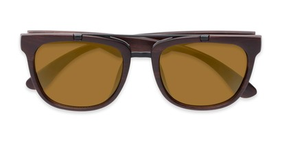 Folded of Anderson #5408 in Brown Frame with Gold Mirrored Lenses