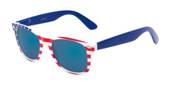 Angle of Anthem #7004 in Stars and Stripes Frame with Blue Mirrored Lenses, Women's and Men's Retro Square Sunglasses