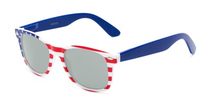Angle of Anthem #7004 in Stars and Stripes Frame with Silver Mirrored Lenses, Women's and Men's Retro Square Sunglasses