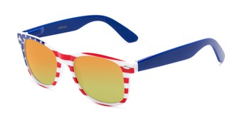 Angle of Anthem #7004 in Stars and Stripes Frame with Orange/Yellow Mirrored Lenses, Women's and Men's Retro Square Sunglasses