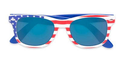 Folded of Anthem #7004 in Stars and Stripes Frame with Blue Mirrored Lenses