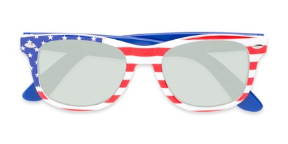 Folded of Anthem #7004 in Stars and Stripes Frame with Silver Mirrored Lenses