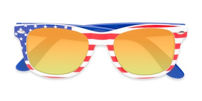 Folded of Anthem #7004 in Stars and Stripes Frame with Orange/Yellow Mirrored Lenses