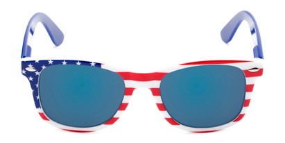 Front of Anthem #7004 in Stars and Stripes Frame with Blue Mirrored Lenses