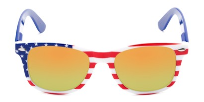 Front of Anthem #7004 in Stars and Stripes Frame with Orange/Yellow Mirrored Lenses