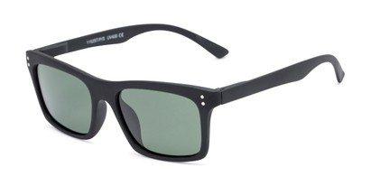 Angle of Arcadia #719 in Matte Black Frame with Green Lenses, Women's and Men's Retro Square Sunglasses