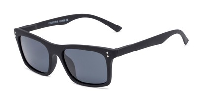 Angle of Arcadia #719 in Matte Black Frame with Grey Lenses, Women's and Men's Retro Square Sunglasses