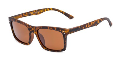 Angle of Arcadia #719 in Matte Tortoise Frame with Brown Lenses, Women's and Men's Retro Square Sunglasses