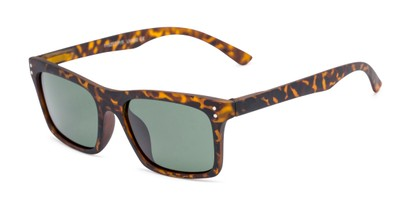 Angle of Arcadia #719 in Matte Tortoise Frame with Green Lenses, Women's and Men's Retro Square Sunglasses