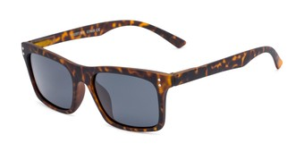 Angle of Arcadia #719 in Matte Tortoise Frame with Grey Lenses, Women's and Men's Retro Square Sunglasses