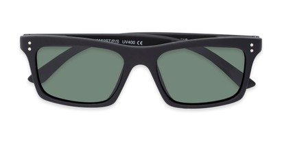Folded of Arcadia #719 in Matte Black Frame with Green Lenses