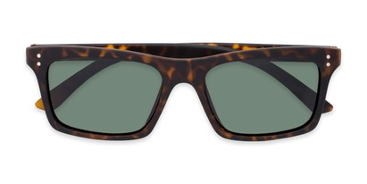 Folded of Arcadia #719 in Matte Tortoise Frame with Green Lenses