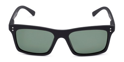 Front of Arcadia #719 in Matte Black Frame with Green Lenses