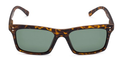 Front of Arcadia #719 in Matte Tortoise Frame with Green Lenses