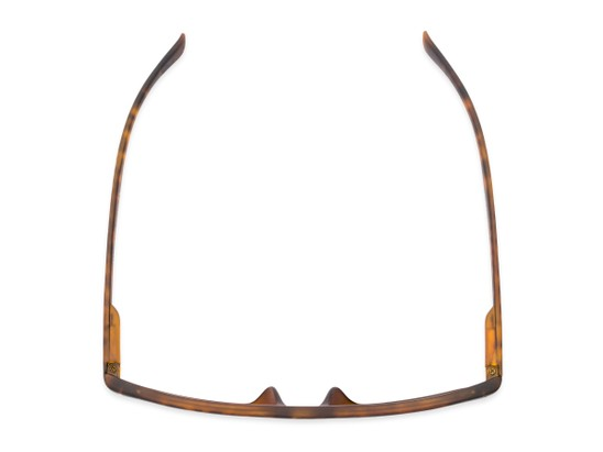 Overhead of Arcadia in Matte Tortoise Frame with Green Lenses