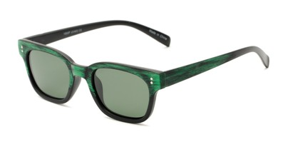 Angle of Argun #1550 in Black/Green Frame with Green Lenses, Women's and Men's Retro Square Sunglasses