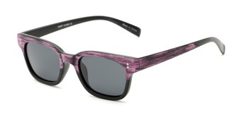 Angle of Argun #1550 in Black/Pink Frame with Grey Lenses, Women's and Men's Retro Square Sunglasses
