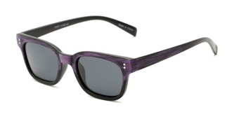 Angle of Argun #1550 in Black/Purple Frame with Grey Lenses, Women's and Men's Retro Square Sunglasses
