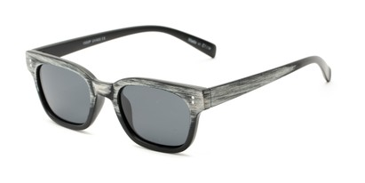 Angle of Argun #1550 in Black/White Frame with Grey Lenses, Women's and Men's Retro Square Sunglasses