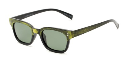 Angle of Argun #1550 in Black/Yellow Frame with Green Lenses, Women's and Men's Retro Square Sunglasses