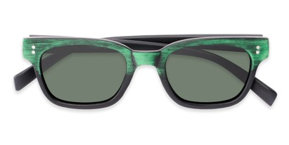 Folded of Argun #1550 in Black/Green Frame with Green Lenses