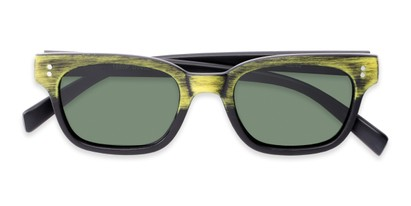Folded of Argun #1550 in Black/Yellow Frame with Green Lenses