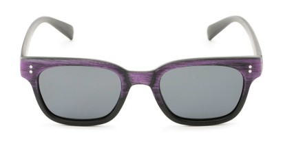 Front of Argun #1550 in Black/Purple Frame with Grey Lenses