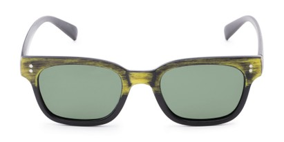 Front of Argun #1550 in Black/Yellow Frame with Green Lenses
