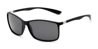 Angle of Aruba #8570 in Black Frame with Grey Lenses, Women's and Men's Sport & Wrap-Around Sunglasses