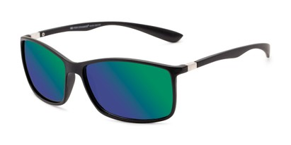 Angle of Aruba in Black Frame with Blue/Green Mirrored Lenses, Women's and Men's Sport & Wrap-Around Sunglasses