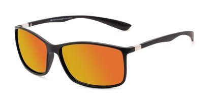 Angle of Aruba #8570 in Black Frame with Yellow Mirrored Lenses, Women's and Men's Sport & Wrap-Around Sunglasses