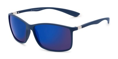 Angle of Aruba in Blue Frame with Blue Mirrored Lenses, Women's and Men's Sport & Wrap-Around Sunglasses