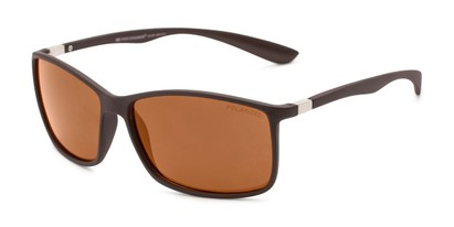 Angle of Aruba #8570 in Brown Frame with Amber Lenses, Women's and Men's Sport & Wrap-Around Sunglasses