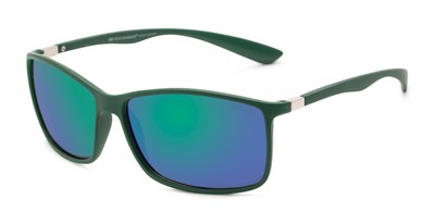 Angle of Aruba #8570 in Dark Green Frame with Blue Mirrored Lenses, Women's and Men's Sport & Wrap-Around Sunglasses
