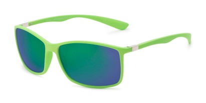 Angle of Aruba in Neon Green Frame with Green/Purple Mirrored Lenses, Women's and Men's Sport & Wrap-Around Sunglasses