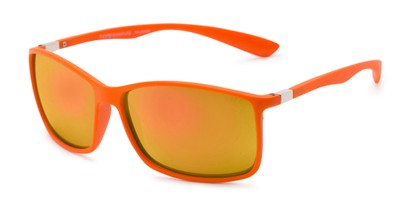 Angle of Aruba in Orange Frame with Yellow Mirrored Lenses, Women's and Men's Sport & Wrap-Around Sunglasses