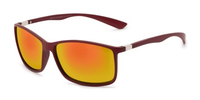 Angle of Aruba in Red Frame with Yellow Mirrored Lenses, Women's and Men's Sport & Wrap-Around Sunglasses