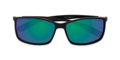 Folded of Aruba in Black Frame with Blue/Green Mirrored Lenses